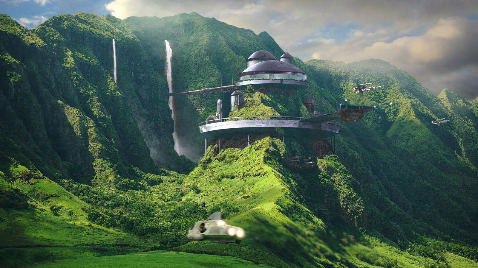 Futuristic landscape city in the heart of mountain for Mountain designs garden city