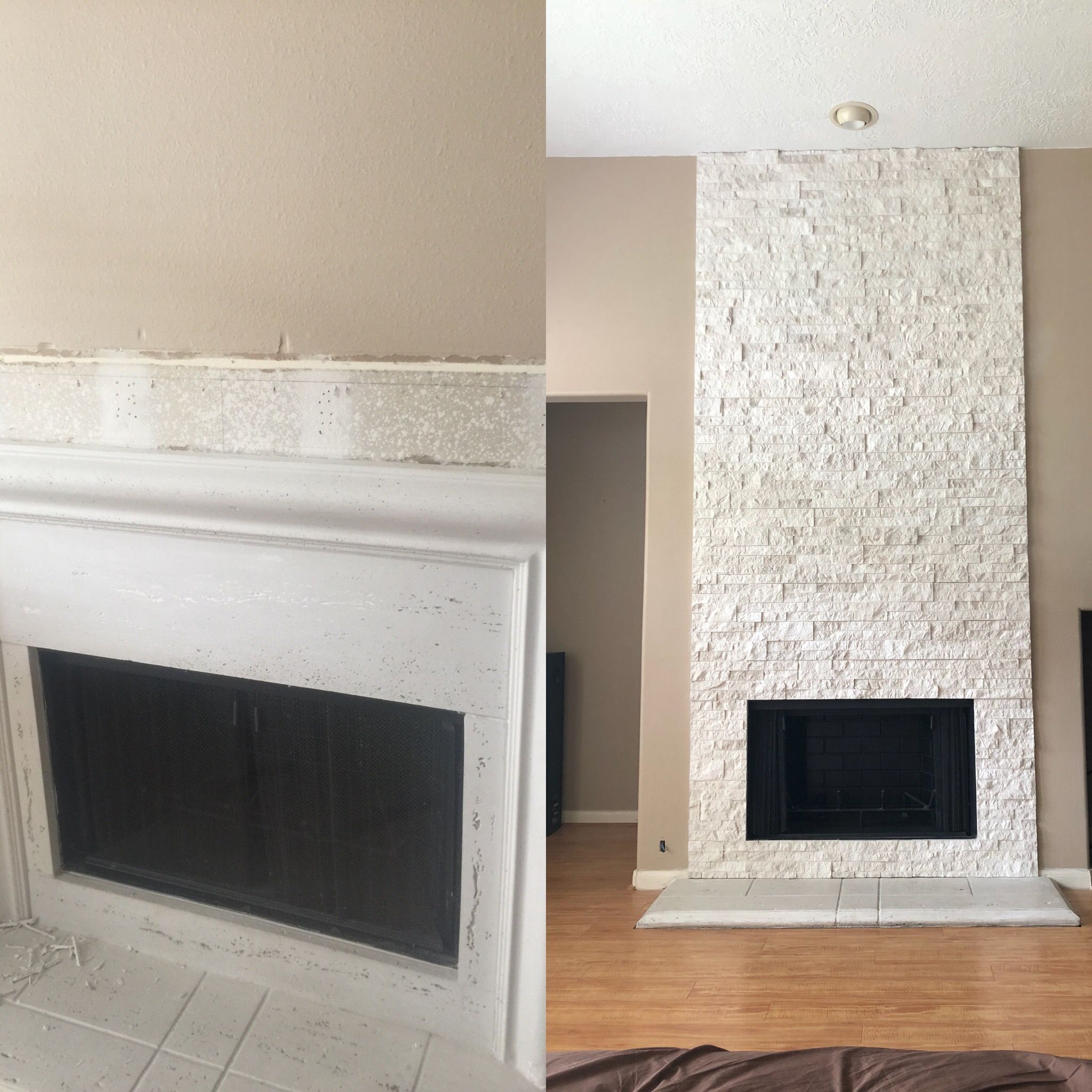 Before and after replaced a concrete fireplace surround
