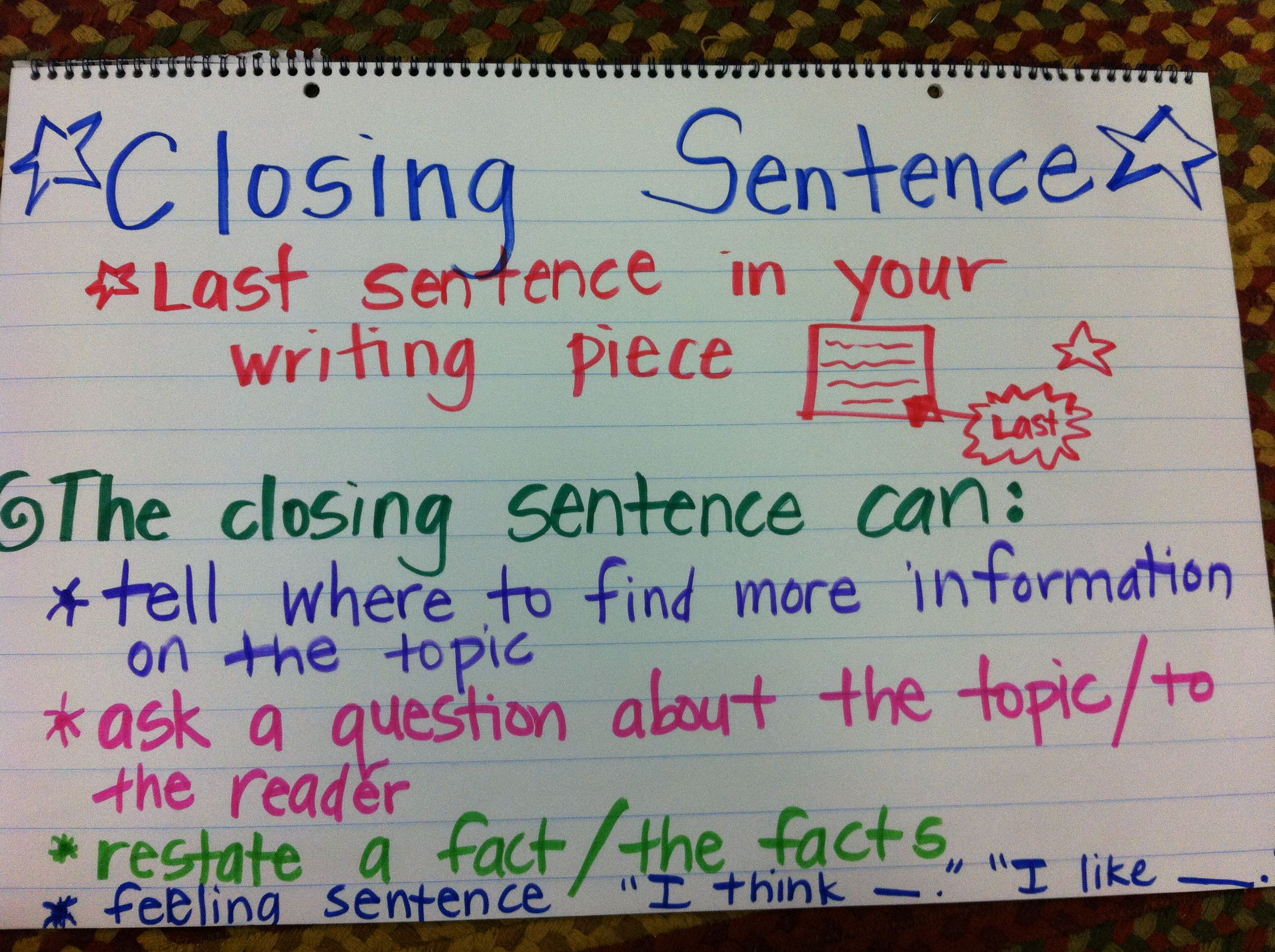 1000 ideas about sentence anchor chart sentence writing closing sentence anchor chart first grade