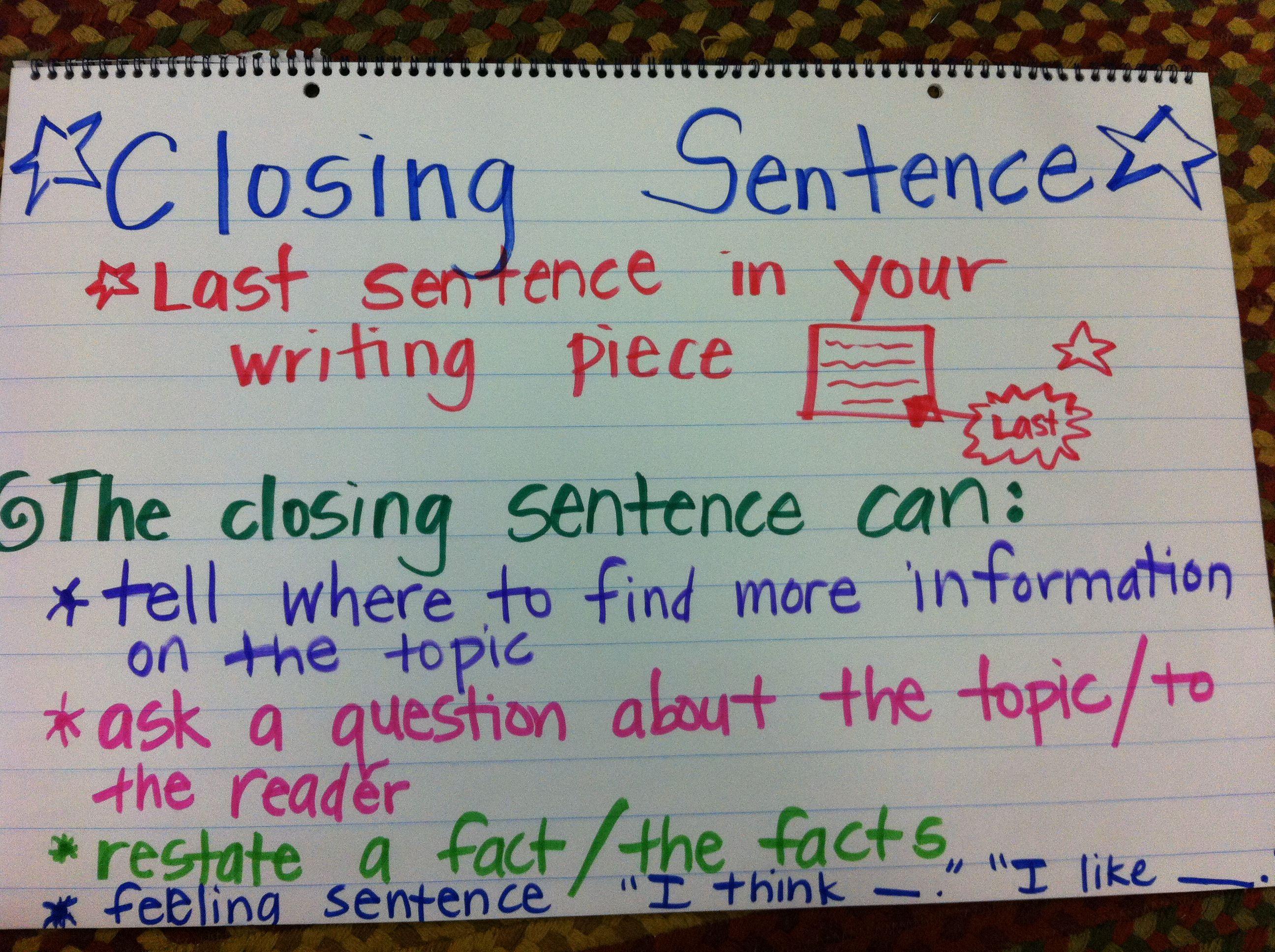Writing closing sentence anchor chart first grade also rd ela rh pinterest
