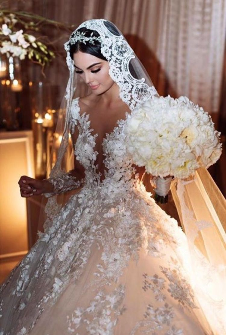 Fancy Long Sleeve Sheer Detailed Wedding Gown With Lace Veil