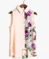 Pink Ink Floral Print Sleevelless Chiffon Sheer Shirt $31.52
