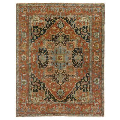 Exquisite Rugs Serapi Hand-Knotted Wool Red/Blue Area Rug | Perigold