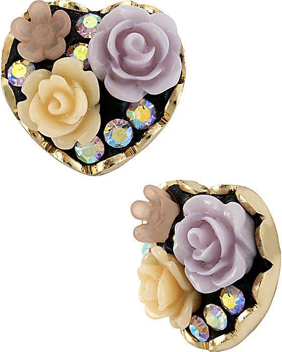 FABULOUS FLOWERS HEART STUD EARRING PURPLE accessories jewelry earrings fashion