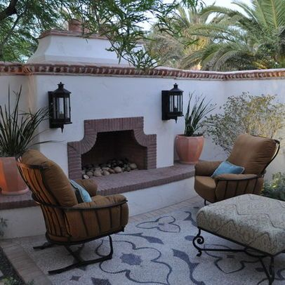 Add fireplace to stucco wall mediterranean patio design - Spanish style patio ideas ...