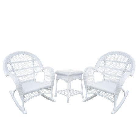 Jeco Inc Santa Maria Wicker 3 Piece Rocker Seating Group Walmart Com Rocking Chair Set Wicker Rocking Chair Rocking Chair