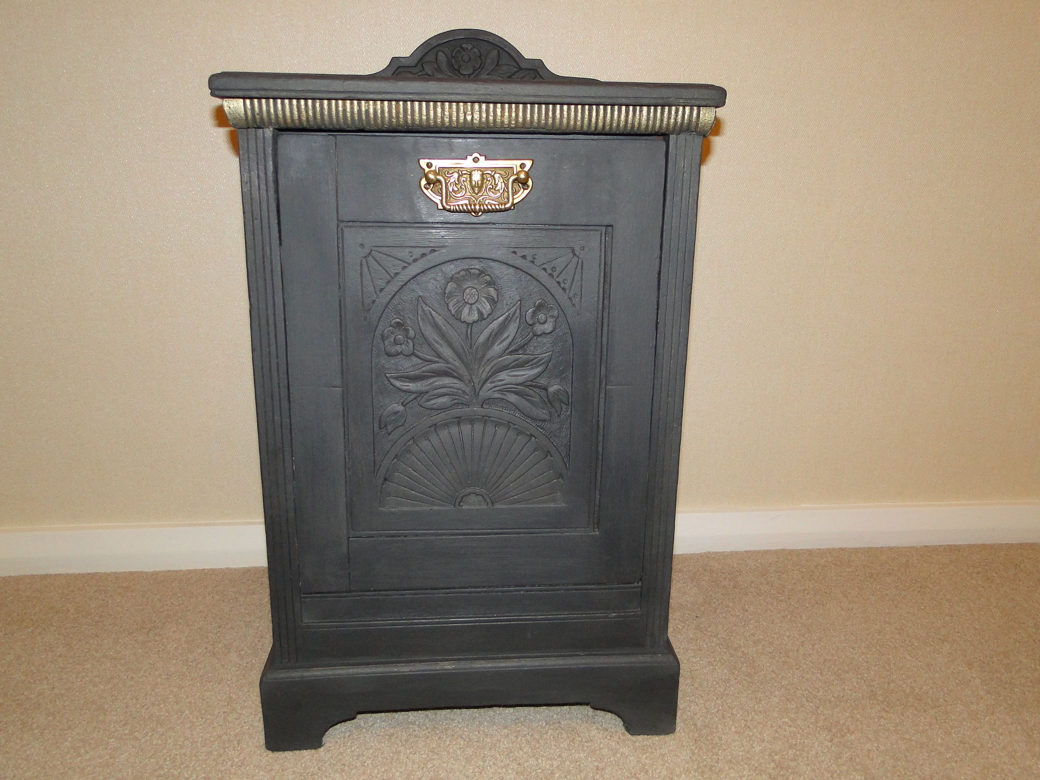 A beautifully carved wooden Coal Scuttle painted in Annie Sloan 'Graphite' from E Bay
