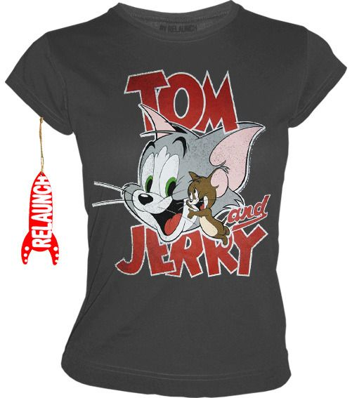 relaunch tom und jerry retro damen t shirt happy faces. Black Bedroom Furniture Sets. Home Design Ideas