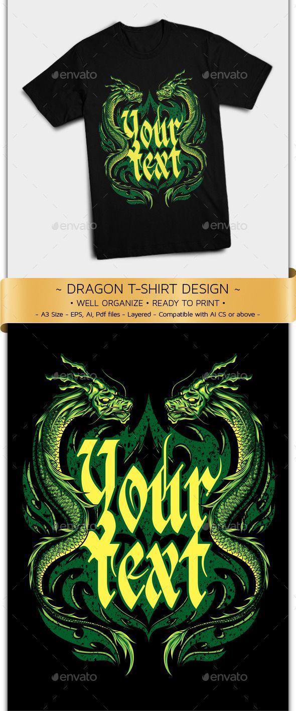 Detailed Vector T Shirt Design Oriental Dragon Vector Illustration