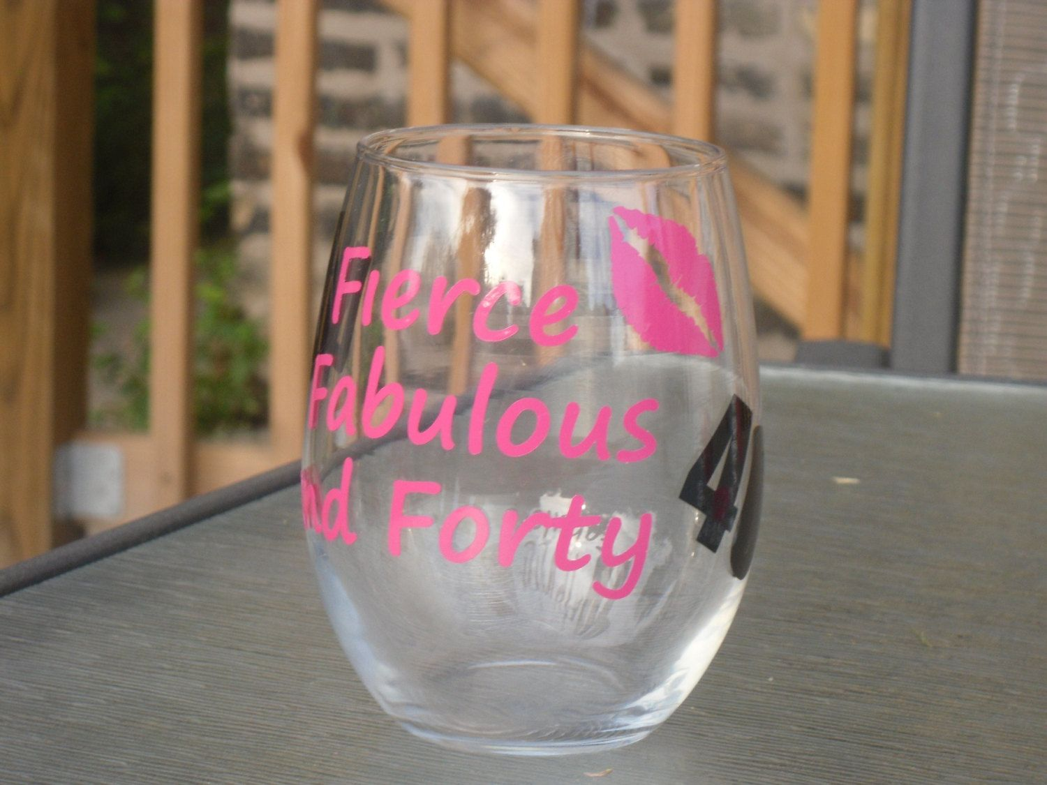 Forty & Fabulous Stemless Wine Glass | 40 birthday, Glass and 40th ...