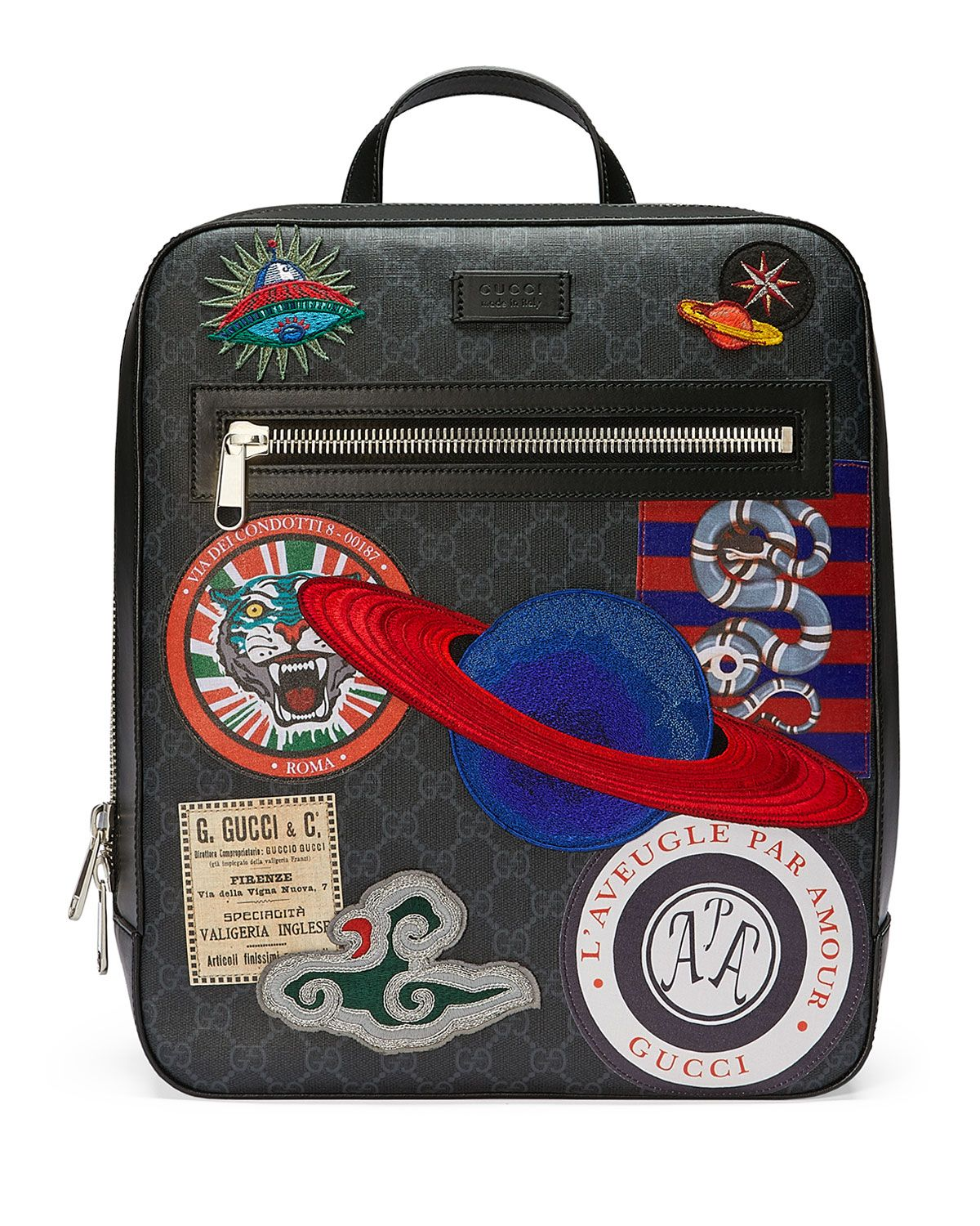Gucci GG Supreme Backpack with Travel Patches Hommes Gucci, Sacs À Main  Gucci, Sacs a05be49489d