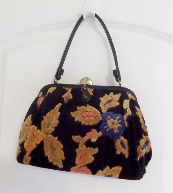 1960s Chenille Handbag Purse Vintage Black Gold Bold Floral