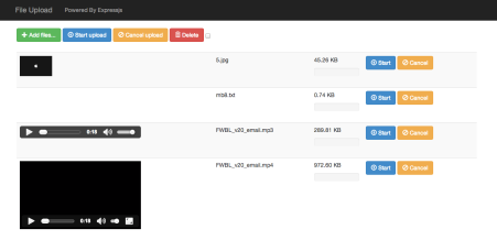 Uploading files made fun with Express js and Blueimp file