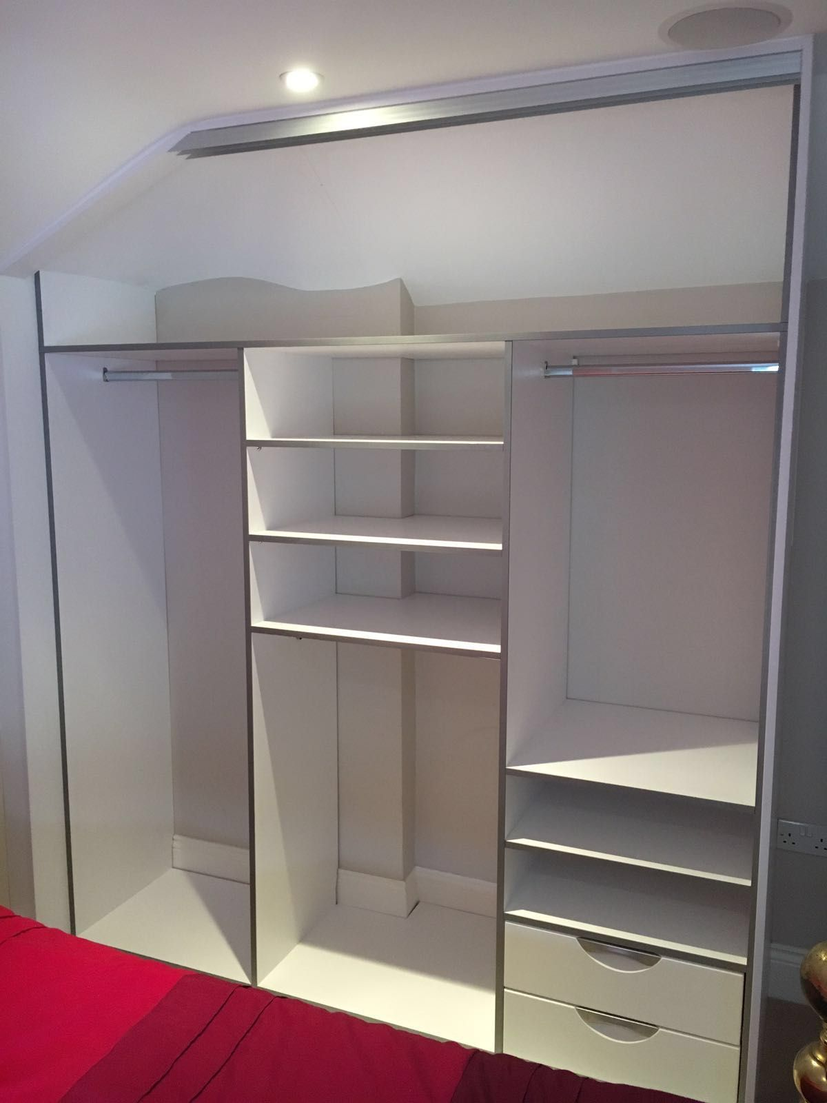 This Is A 3 Door Sliding Wardrobe With One Angled Door To Fit The Space It S Got A Silver Door Trim With Mirrors And W With Images Sliding Wardrobe 3 Door Sliding Wardrobe