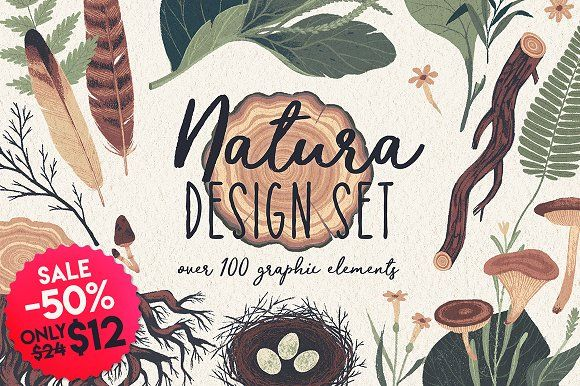 Natura graphic elements pack by Darumo Shop on @creativemarket