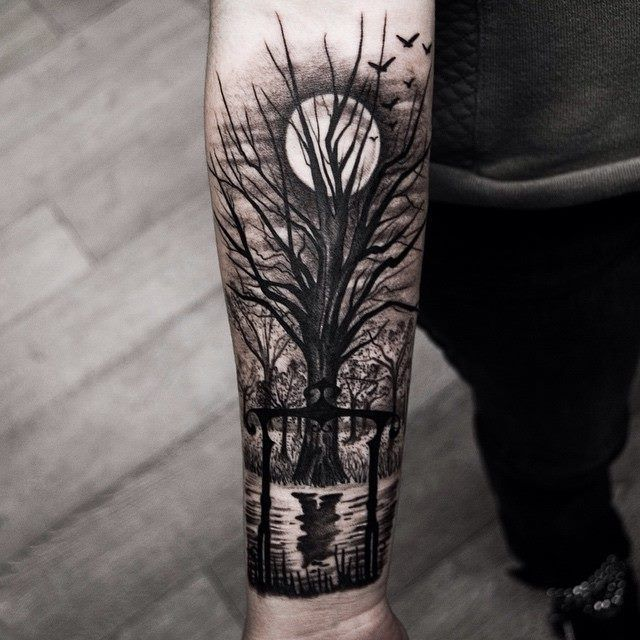 Forest Tree And Moon Behind The Tree Tattoo On Forearm Ink