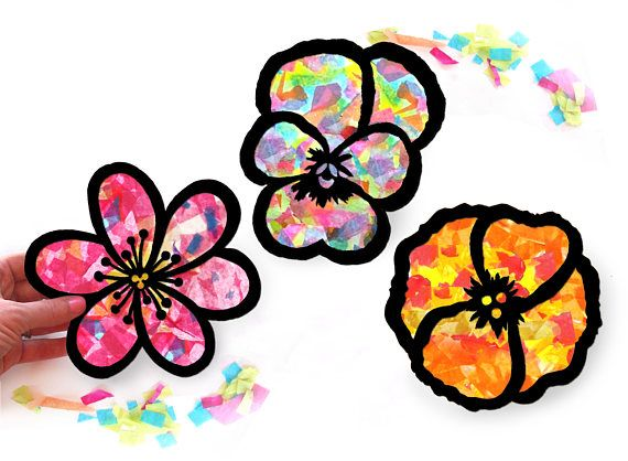 Kids craft kit flower stained glass suncatcher kit with flowers kids craft kit flower stained glass suncatcher kit with flowers using tissue paper arts and crafts kids activity project mosaic mightylinksfo