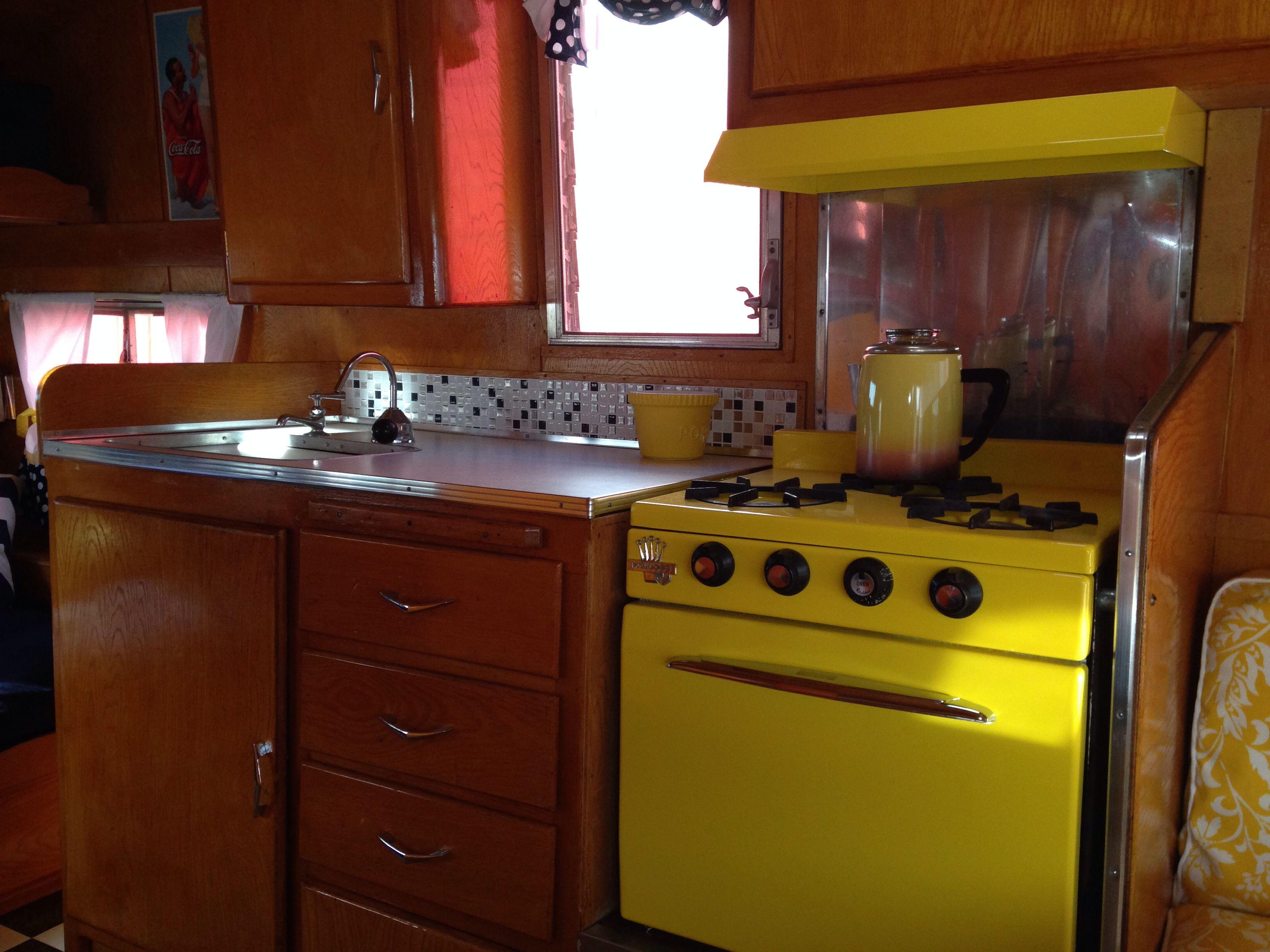 Yellow Princess stove Camper decor, Kitchen, Kitchen