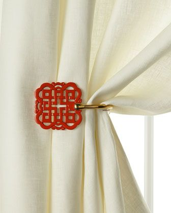 Chinoiserie Chic Dynasty Fretwork Curtain Tie Back Zen Chinese Theme Oriental Decor