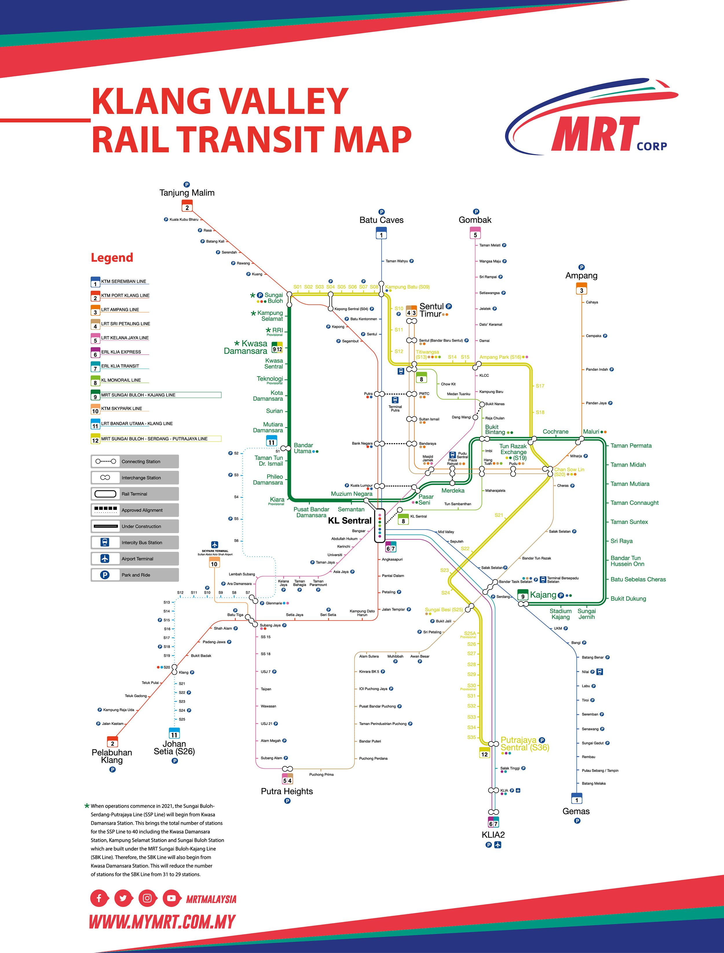 KLANG VALLEY RAIL TRANSIT MAP Malaysia Public Transport Network