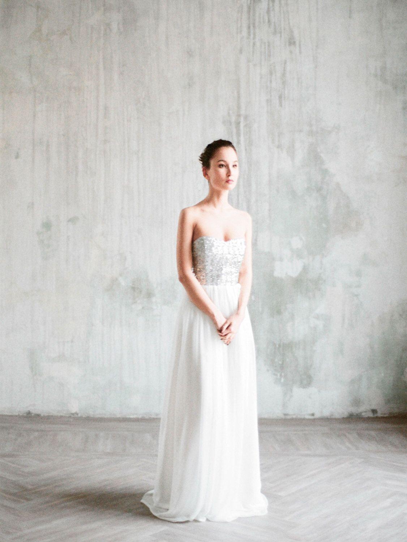 Zeya - silver sequin wedding dress, wedding gown with corset and ...