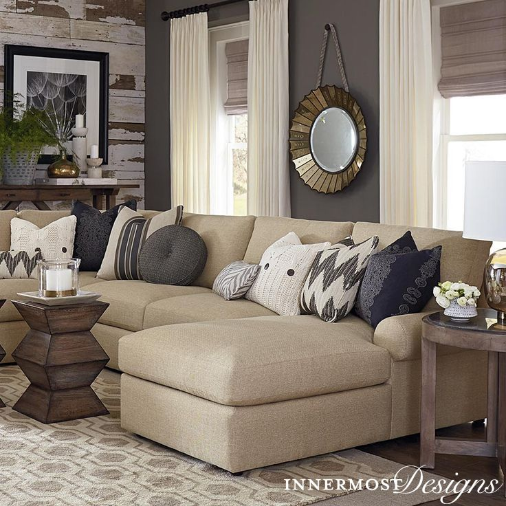 We love all the contrast in this living room the for Gray and wood living room