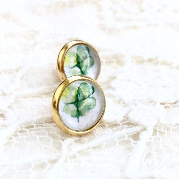 Four Leaf Clover Glass Cabochon Earrings