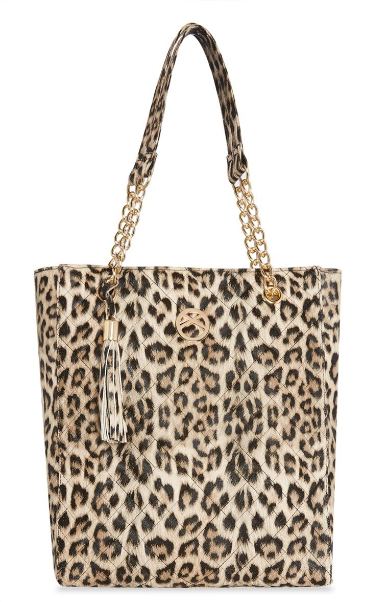 Leopard Print Quilted Shopper Tote   Borse