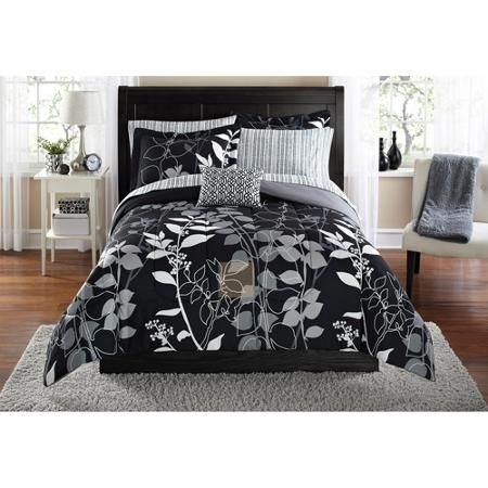 Mainstays Grey Floral Bed In A Bag Bedding Full Walmart Com