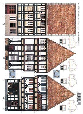Bastelbogen Fachwerkhaus Hausvorlage, Häuser basteln