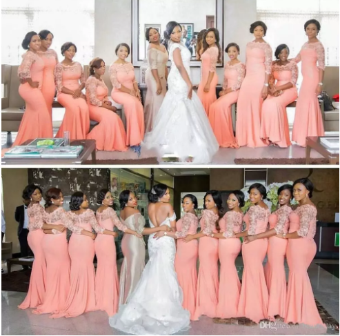 Arabic African Long Coral Bridesmaid Dresses With Half Sleeves Plus Size Lace Me Mermaid Bridesmaid Dresses Coral Bridesmaid Dresses African Bridesmaid Dresses