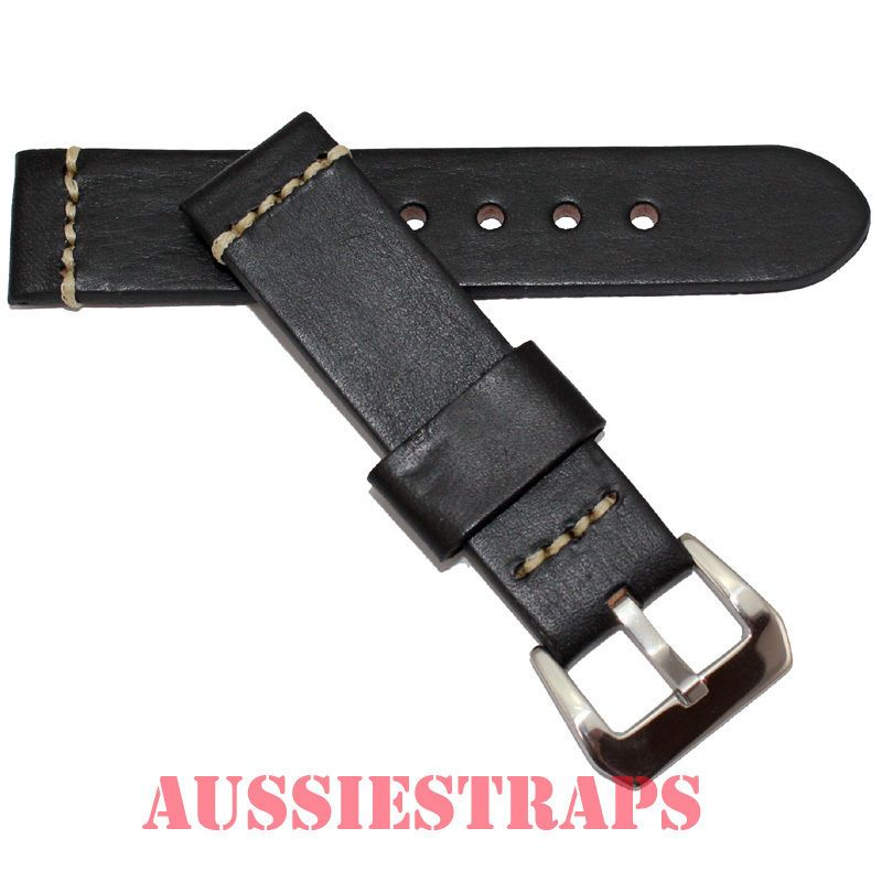 Distressed Vintage Leather Black Watch Strap Band Pre V Prev Buckle Suit Panerai | eBay