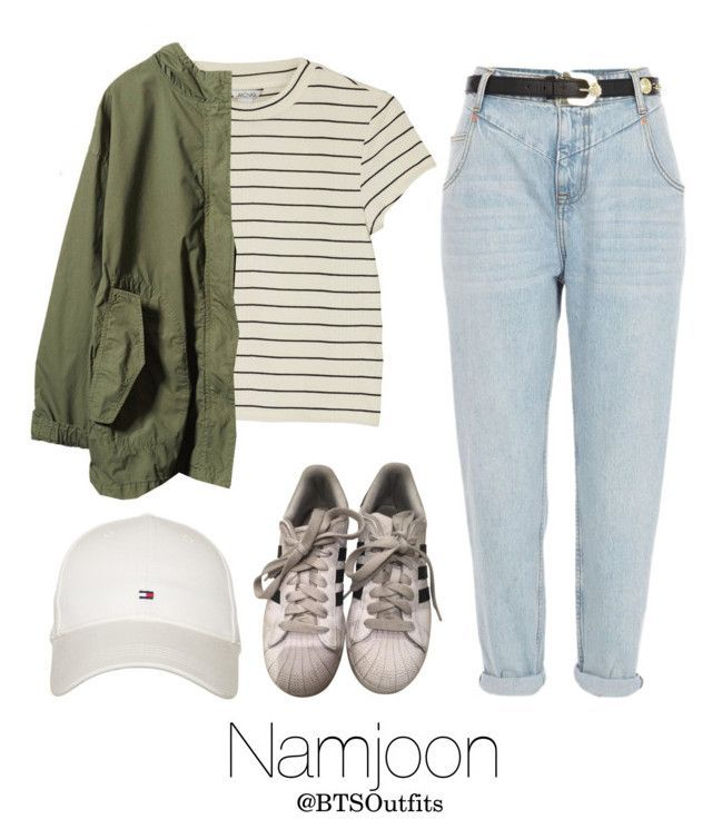 Horseback riding with Namjoon by btsoutfits on Polyvore featuring Monki, River Island, adidas and Tommy Hilfiger #kpopfashion