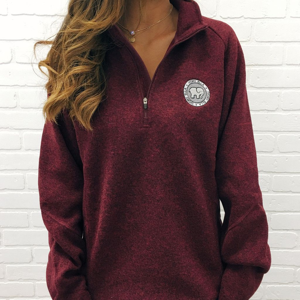27237b23698e8 Burgundy Heathered Quarter Zip – Ivory Ella