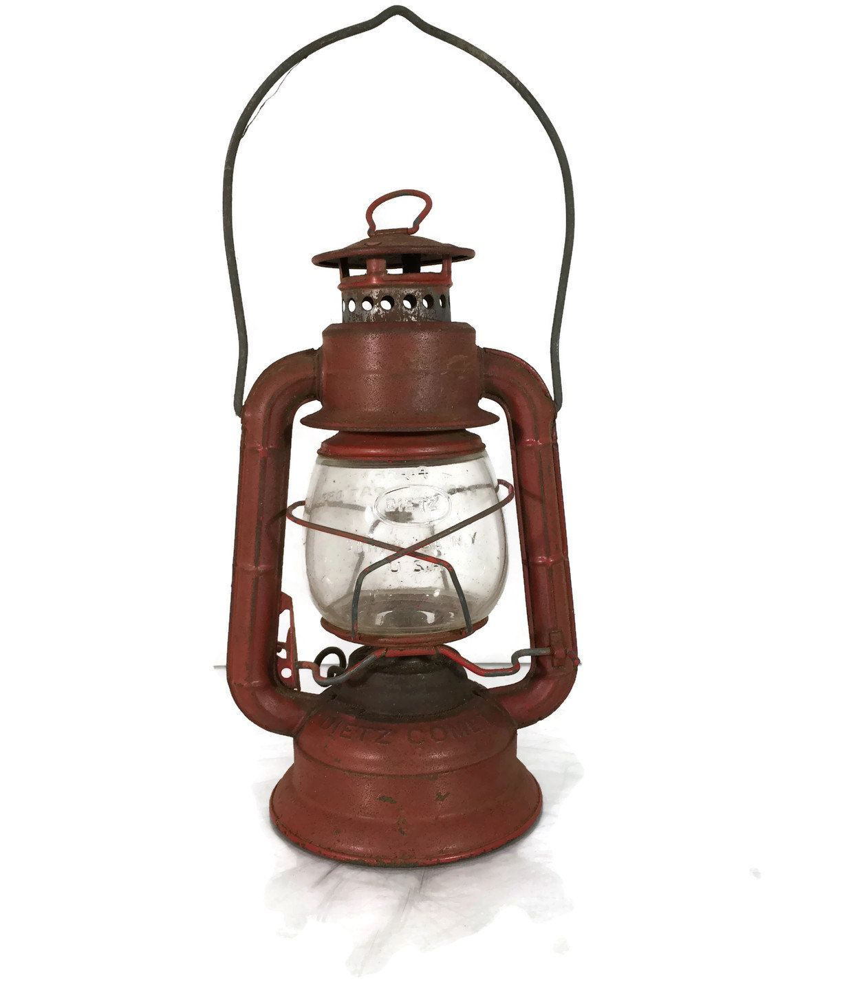 New to Revendeur on Etsy: Vintage Dietz Comet Railroad Lantern -- Red Lantern with Clear Globe -- Cabin Decor -- Boy Scout Lantern -- Camping Lantern -- CA800 (45.00 USD)