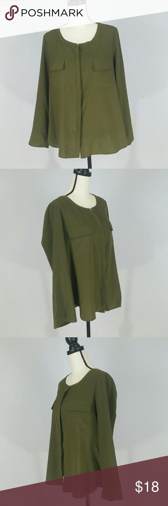 Kleines l küchendesign anne klein olive green blouse womenus size large l in   my posh