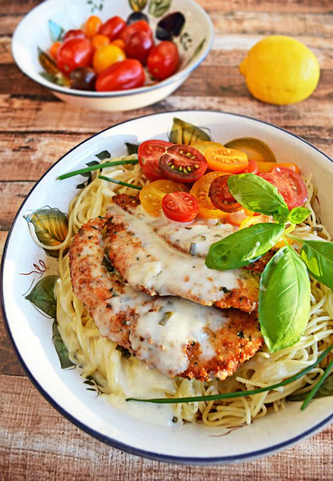parmesan crusted chicken with herb butter sauce | recipe