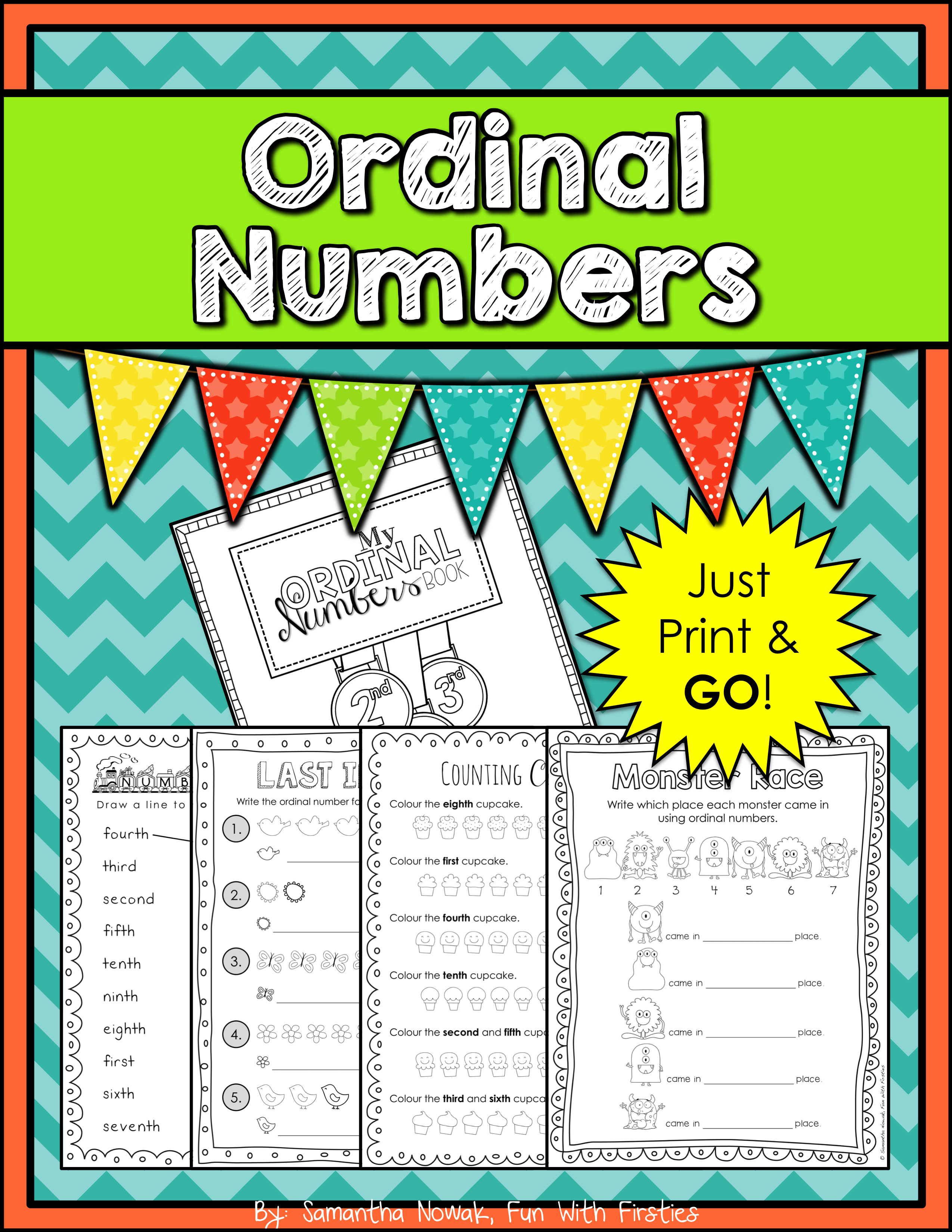 Ordinal Numbers Booklet Print Amp Go