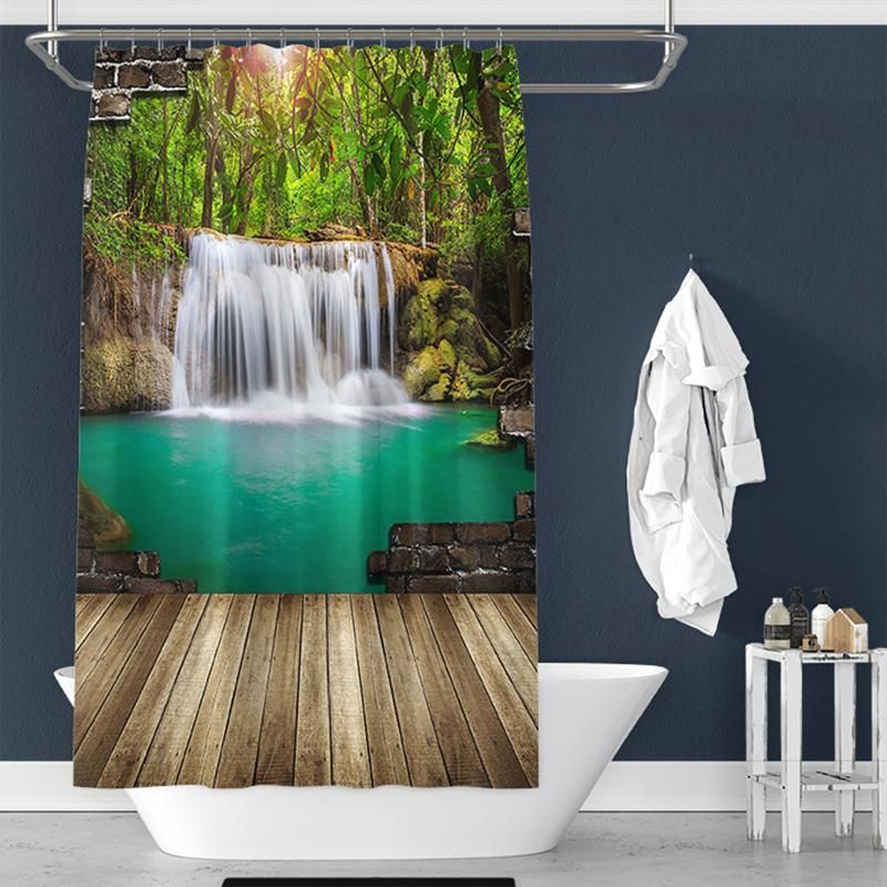 Spring Scenery Print Pongee Shower Curtain For Bathroom Bathroom