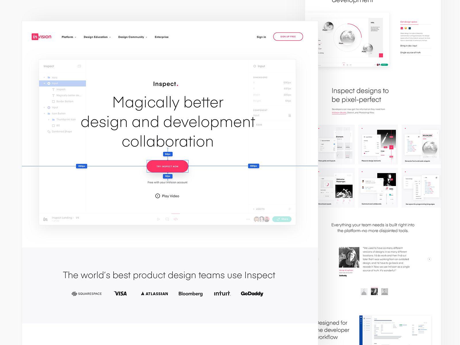 Invision S Inspect Design And Development Collaboration Tool Web Design Development Design