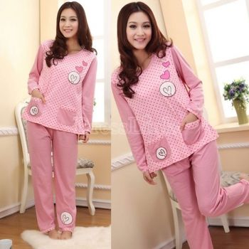 Women's Cute Cartoon Crew Neck Long Sleeve Cotton Home Wear Pajamas Sleepwear