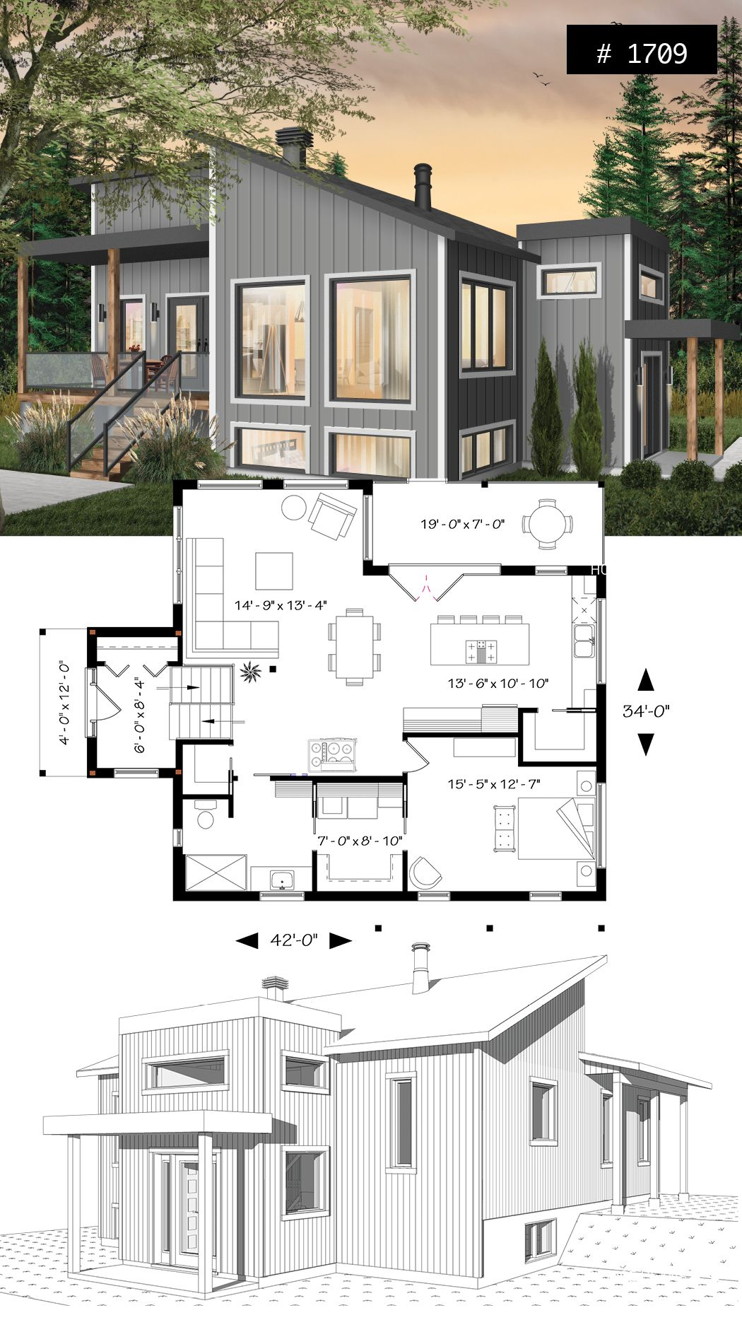 Small modern house plan for corner lot master suite open space huge windows