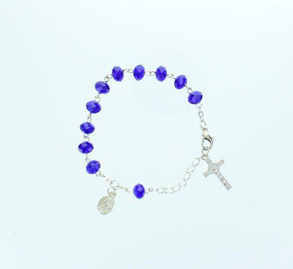 "Amazon.com: Silver Catholic Rosary Bracelet, 8"", Adjustable, Bright Blue Beads, Dangle St. Benedict Crucifix, Saints Charm.: Jewelry"