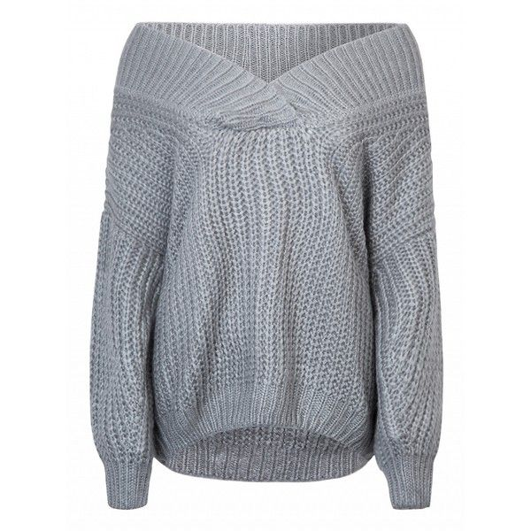Choies Gray Deep V-neck Balloon Sleeve Chunky Knitted Sweater (€39) ❤ liked on Polyvore featuring tops, sweaters, grey, chunky grey sweater, deep v neck top, chunky gray sweater, deep v-neck sweaters and chunky sweater