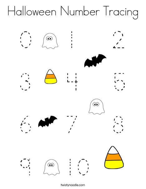 Halloween Number Tracing Coloring Page - Twisty Noodle ...