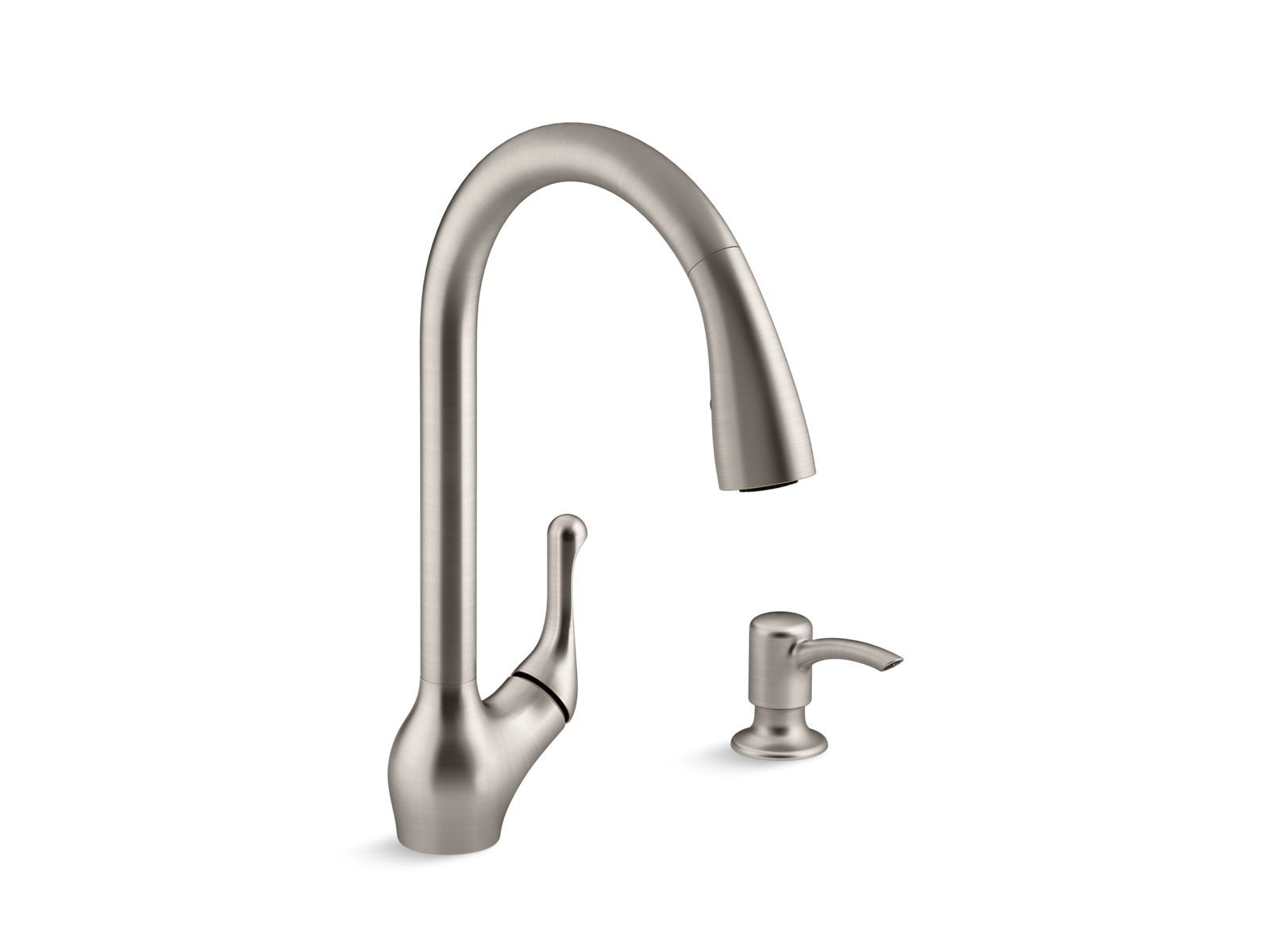 The Faucet Features A High Arch Swing Spout Pull Down Touch Control Sprayhead With Sweep Spray And Soap Dispenser