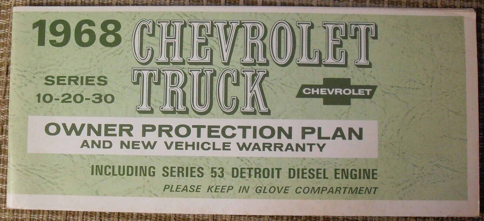 Original 1968 Chevrolet Truck Owners Protection Plan Booklet This