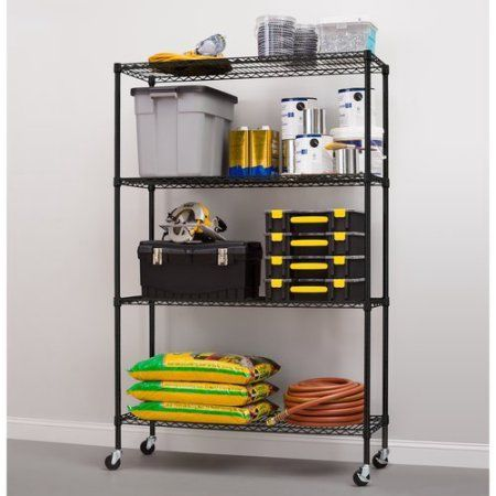 Hyper Tough 18 Dx48 Wx75 H With Casters 4 Shelf Commercial Grade Wire Shelving System With Bonus Shelf Liners And Casters Black Walmart Com Wire Shelving Units Wire Shelving Shelving Unit