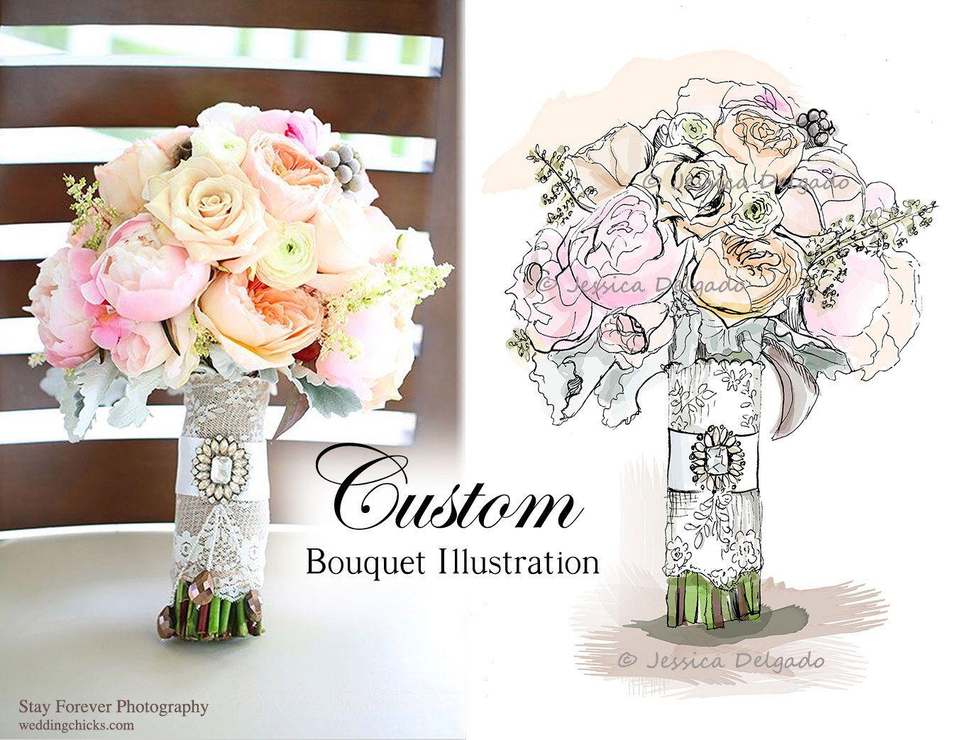 Wedding Art Gifts: Custom Wedding Bouquet Illustration, Bridal, Custom Art