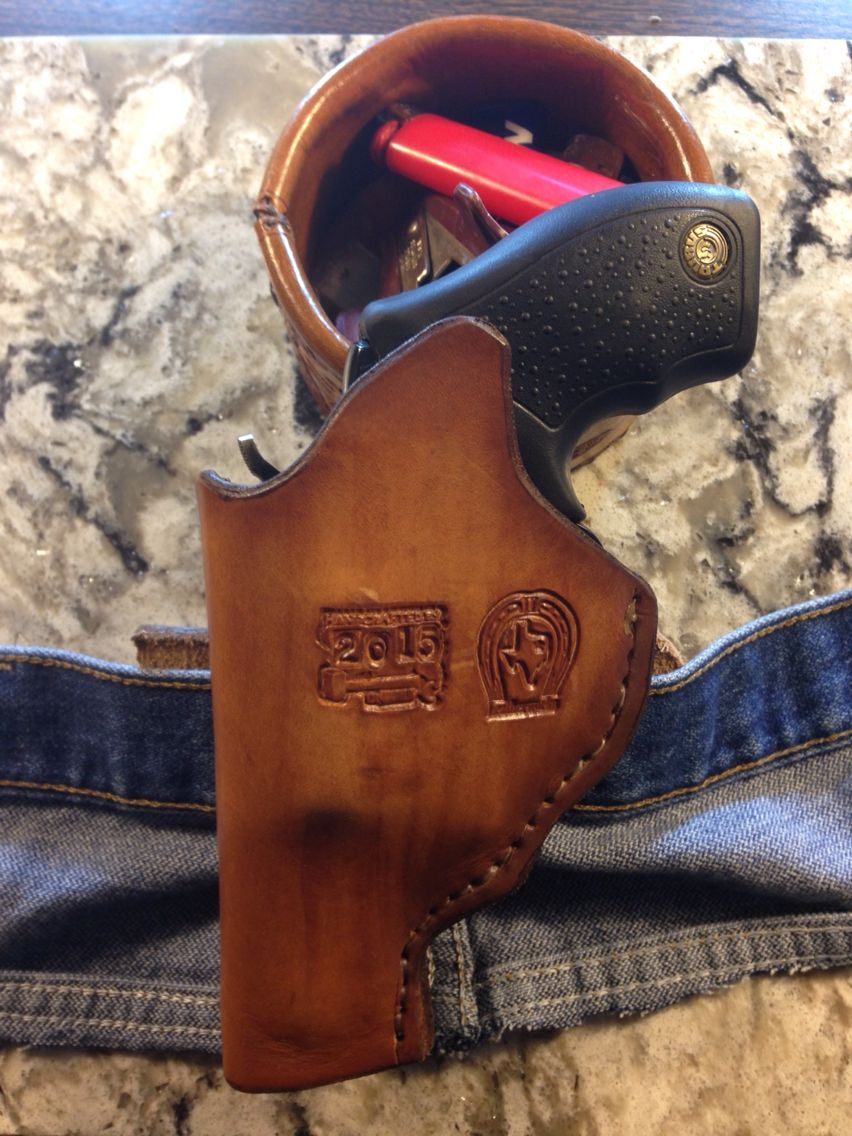 (Customer Designed)  Taurus 357mag Inside Waistband Holster with belt loop with 12ga Shotgun Snap.  Finished out in Pure Neatsfoot Oil, Edged Kote and, sealed with Super Shine Finisher.  $75.00 (UN-TOOLED)  $85.00 (TOOLED)  Shipping and handling not included.